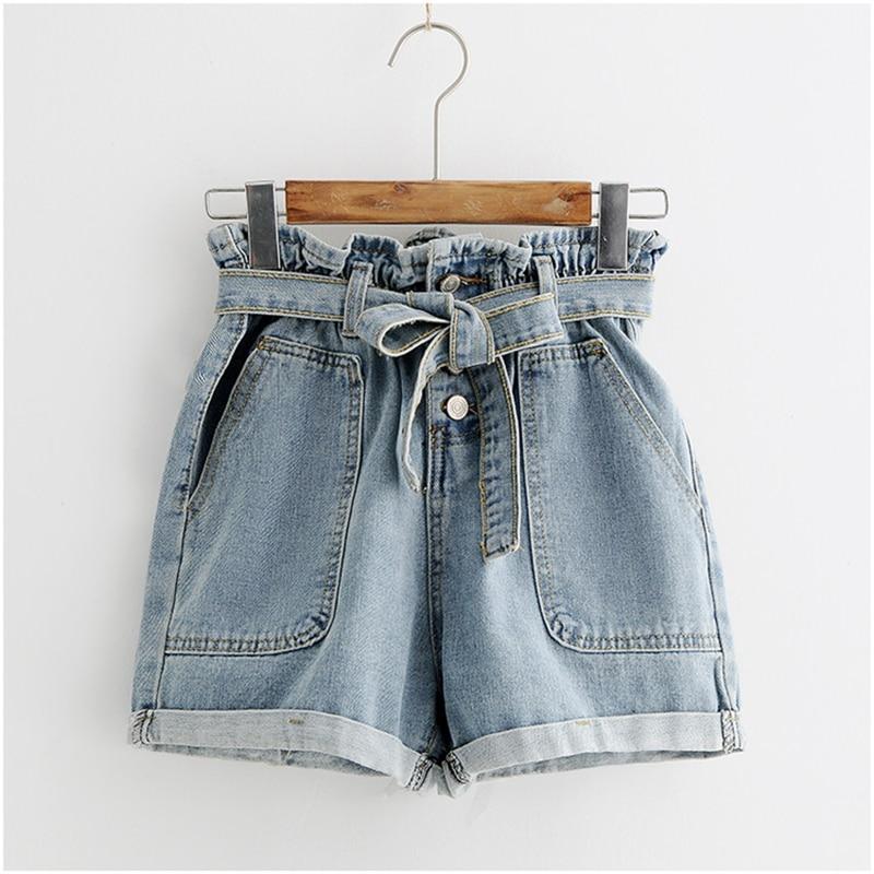 CALOFE Tie Waist Denim Shorts 2020 New Design Shorts Summer High Waist Button Fly Plain Casual Hot Sale Shorts Blue
