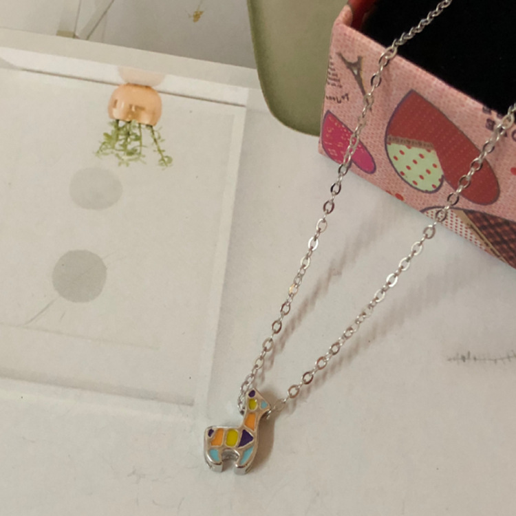 New sterling silver colorful small elk necklace short clavicle chain student fashion wild jewelry GSH03