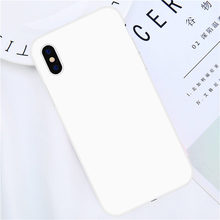 цена на Phone Case For iPhone 7 6 6s 8 X Plus 5 5s SE XR XS Max Simple White Solid Color Ultrathin Soft TPU Case Candy Color Back Cover