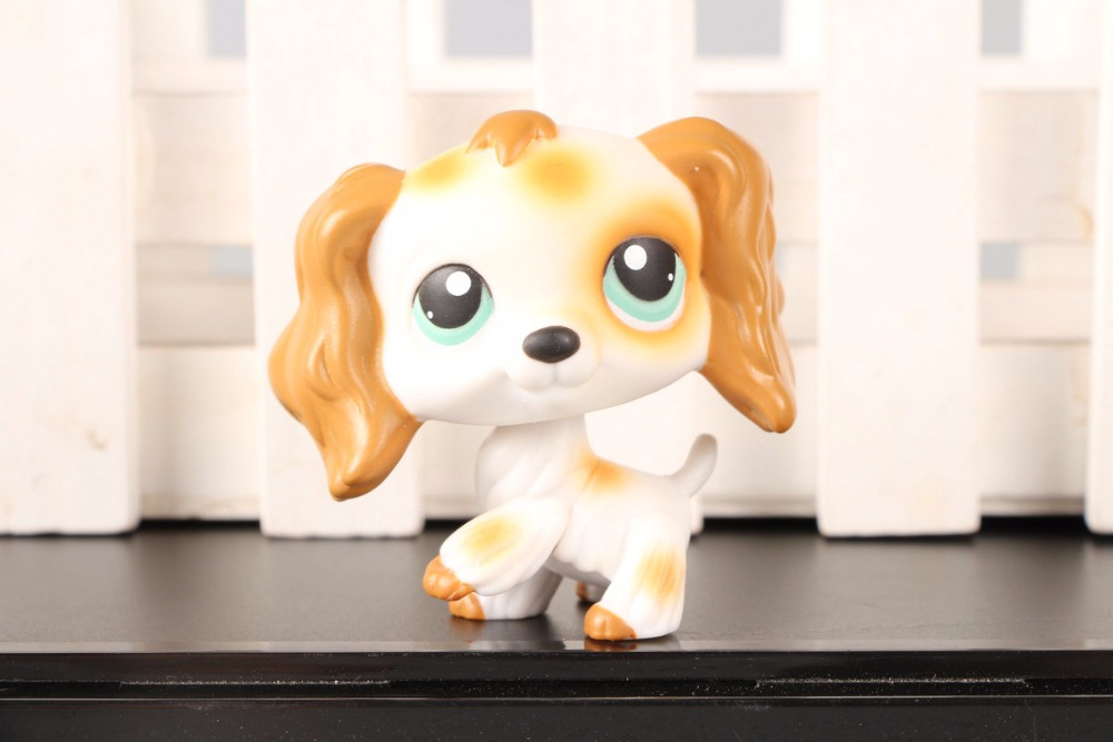 New Pet Collection Figure LPS #344 Brown White Cocker Spaniel Dog Girl toys Green Eyes Kids Toys cute pet rare color sausage short hair dog action figure girl s collection classic anime christmas gift lps doll kids toys
