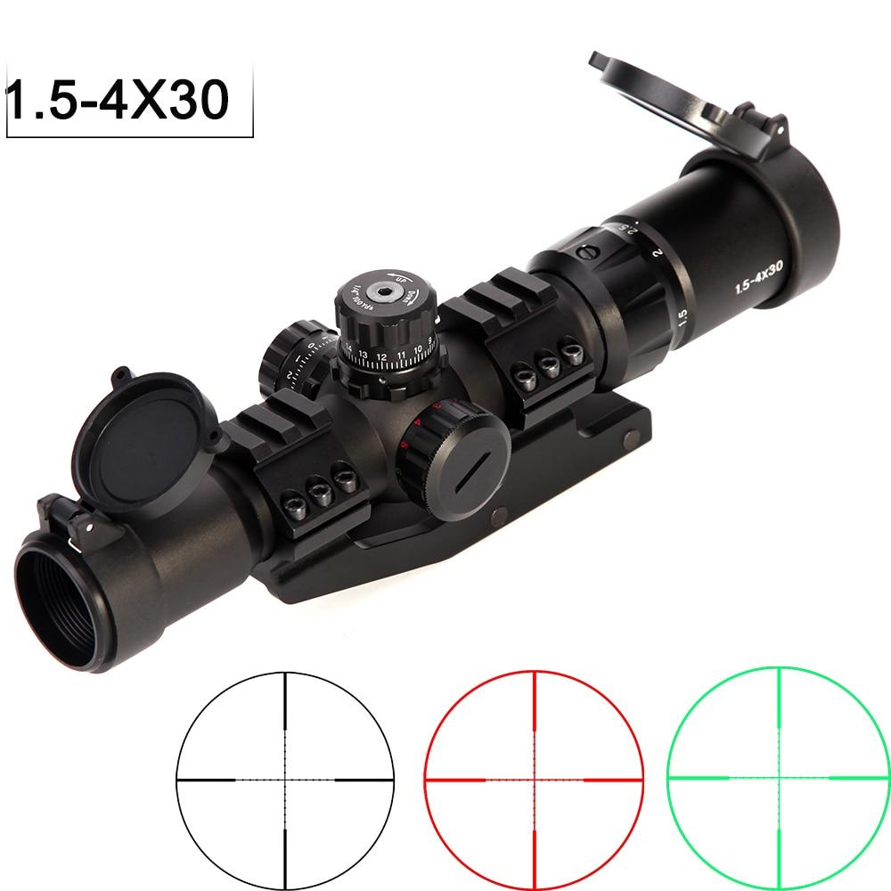 1.5-4x30 Tratical Hunting Riflescope RGB Illuminated Optical Sight Horseshoe Reticle With Offset Weaver Mount Ring Fit VEG47 T15
