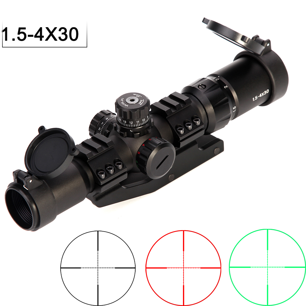 1.5-4x30 Tratical Hunting Riflescope RGB Illuminated Optical Sight Horseshoe Reticle With Offset Weaver Mount Ring Fit VEG47 T15