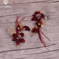 CC Jewelry Hair Clip Tiara Bridal Hair Accessories 2pcs Set Hairpins Handmade Flowers Wedding Decorations For