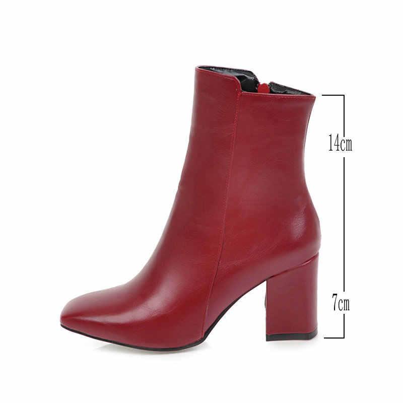 Kadın Yan Fermuar Rahat Kare Topuk yarım çizmeler Moda Kare Ayak Sıcak Tutmak Kış Ayakkabı Siyah Kırmızı Beyaz