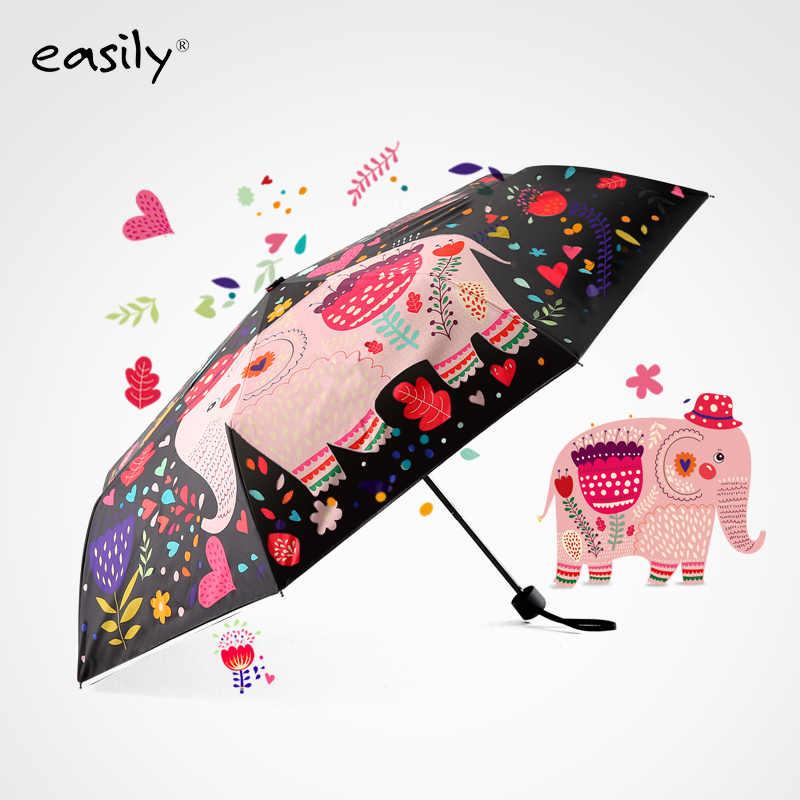 Parasol pare-vent Parasol enfants parapluie Anti UV revêtement noir crème solaire trois parapluie pliant pluie femmes 8 côtes WZP194