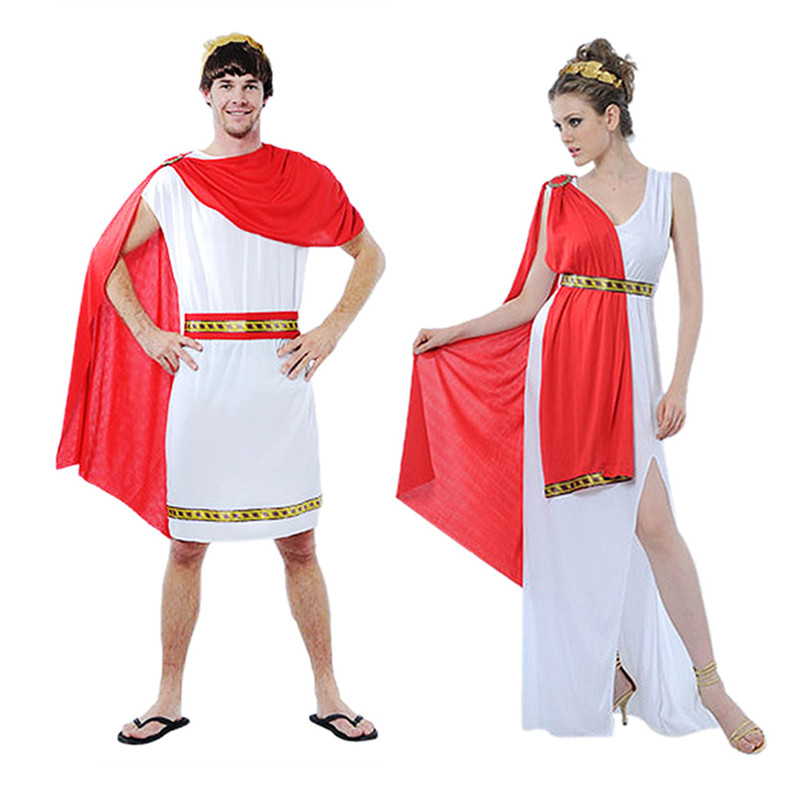 Greek Goddess Costumes Women Sexy Deep V-neck Split White New Year Halloween Ancient Egypt Prince Costumes for Women