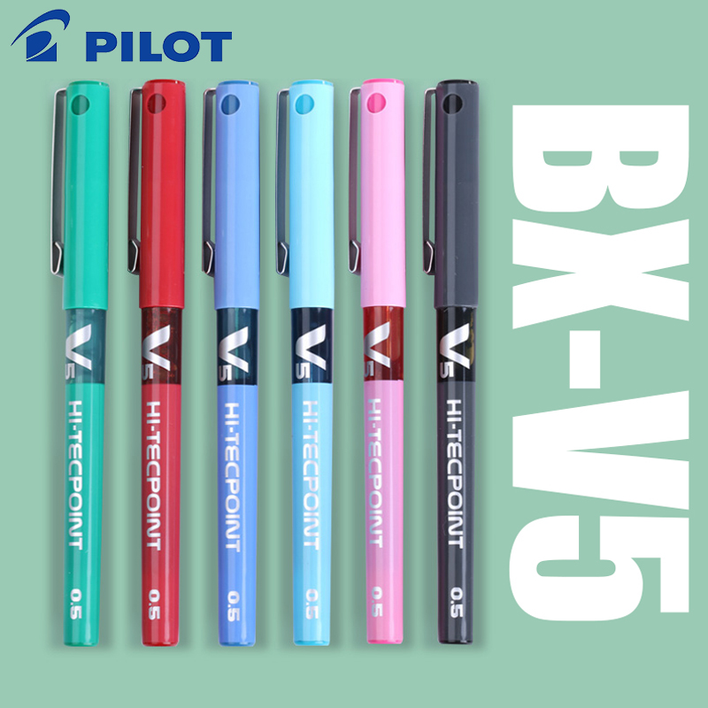7 pcs/lot Japan Pilot V5 Liquid Ink Pen 0.5mm 7 Colors to Choose BX-V5 standard pen office and school stationery style