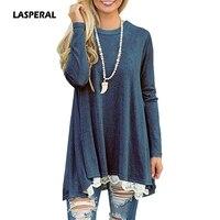 LASPERAL אופנה נשים טי חולצות שרוול ארוך קפלים Loose O נקבה Tshirts צוואר שרוול ארוך 2017 סתיו סדיר טי חולצה חולצות