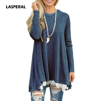 LASPERAL Fashion Women Tee Tops Long Sleeve Pleated Loose O Neck Long Sleeve Tshirts Female 2017