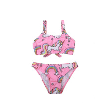 2019 New Summer 4-8years Children 2piece Swimwear Unicorn Rainbow Baby Kids Biquini Infantil Swimsuit Bikini Girl Bathing Suit