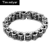 Amazon Heat Sell Stainless Steel Crow Bracelet Titanium Heart Human Skeleton Head Bracelet European Man Ornaments