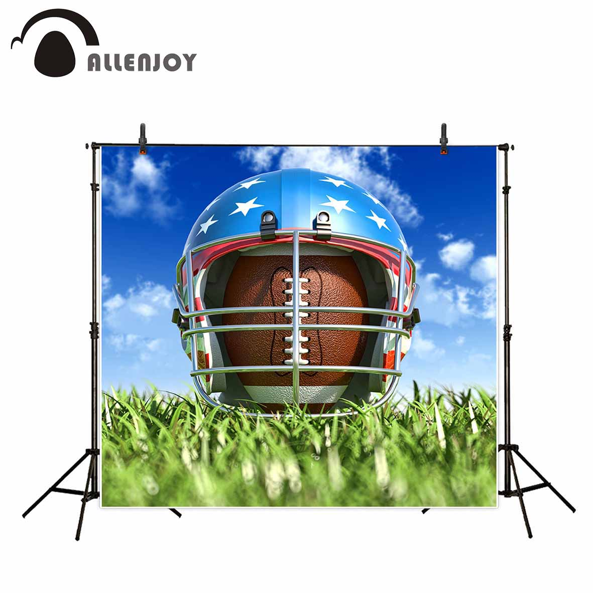 Allenjoy photo background American football helmet grass sky bokeh background for photo photo studio backdrop