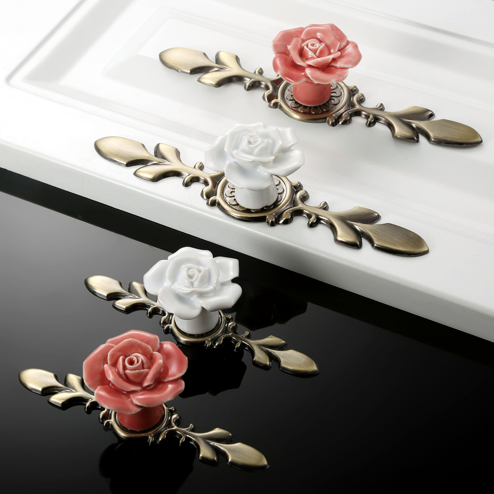 1Pc Door Handle Pink White Rose Vintage Ceramic Alloy Base Cabinet Knobs Cupboard Dresser Kitchen Furniture Door Pull Knob in Cabinet Pulls from Home Improvement
