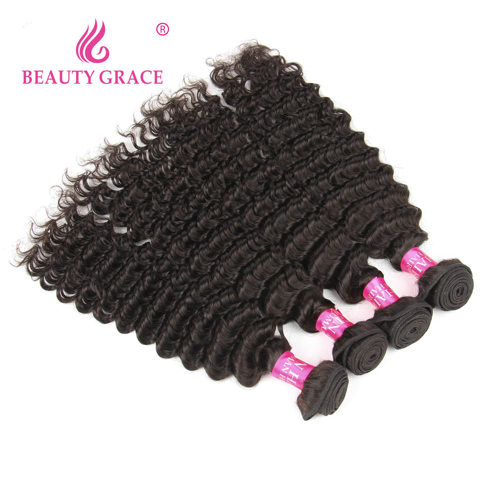 Beauty Grace Malaysian Deep Wave Bundles Non Remy 4 Bundle Deals Hair Weave Bundles Human Hair Bundles Extensions