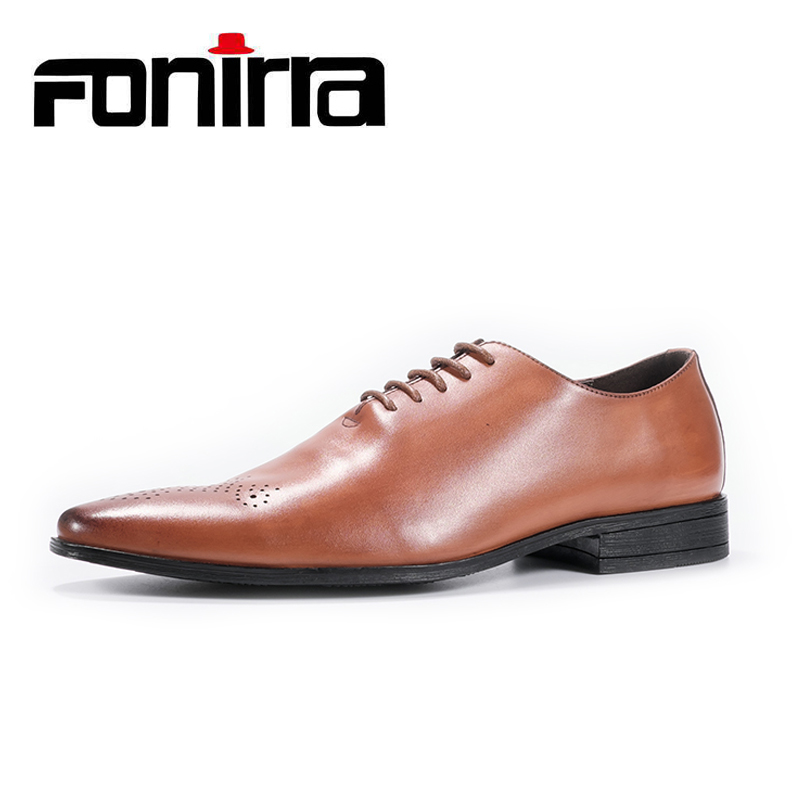 FONIRRA New 2018 Men Business Formal Dress Shoes Oxford Men Leather Shoes British Style Lace Up Pointed Toe Low Top Flats 412 new 2017 men business formal dress shoes oxford men leather shoes lace up pointed toe british style men shoes brown black