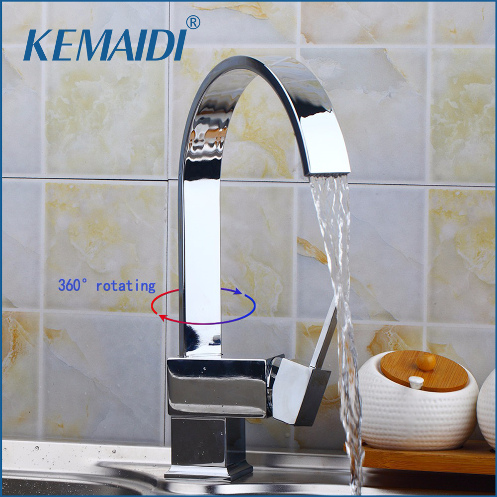 KEMAIDI Contemporary New Polished Chrome Brass Kitchen Bathroom Faucet Single Handels Vessel Mixer Tap Pure Water