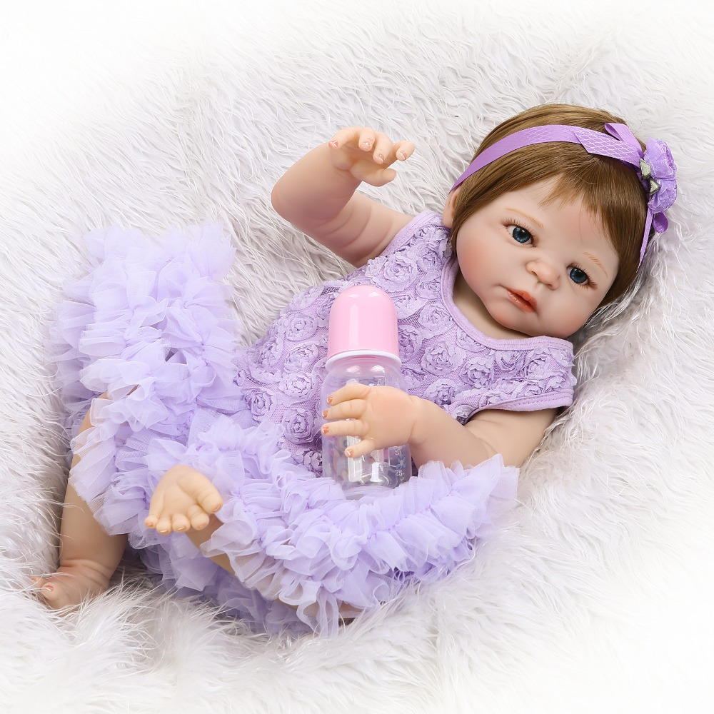 55cm Full Silicone Reborn Baby Girl Doll Toy Lifelike Lovely 22inch  Newborn Princess Babies Doll Fashion Birthday Gift Bathe To  18 inch lovely american girl princess doll baby toy doll with fashion designed dress journey girl doll alexander doll