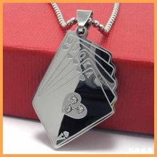 Fashion Jewelry Playing Card Heart Straight Flush Pendant 316L Stainless Steel Necklace Mens Necklaces 10565