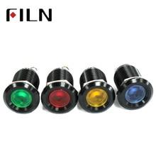 12 мм водонепроницаемый черный дом сигнальная лампа светодиодный металлический индикатор светильник плоский светильник 12 В винт подключения