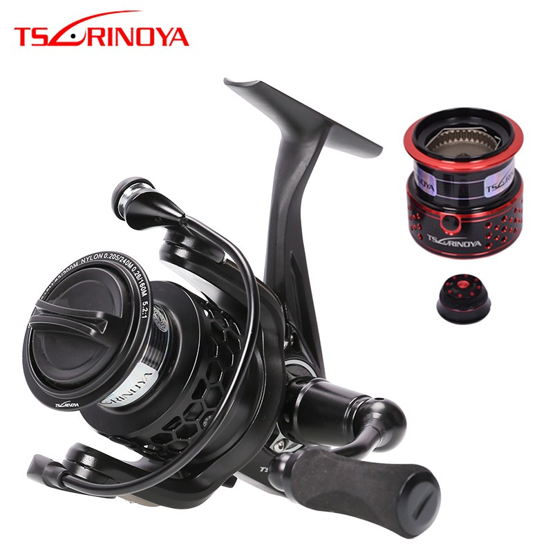 TSURINOYA TSP2000 Spinning Fishing Reel+Spare Spool 12BB 5.2:1 Lightweight Carp Fishing Reel Double Spools Lure Wheel Coil Pesca
