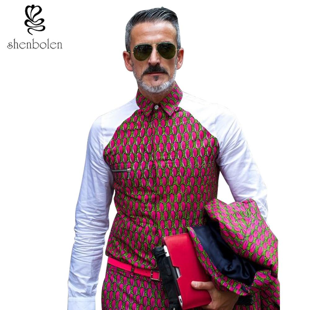 2016 Autumn Mens African Clothing Ankara Clothes Shirt