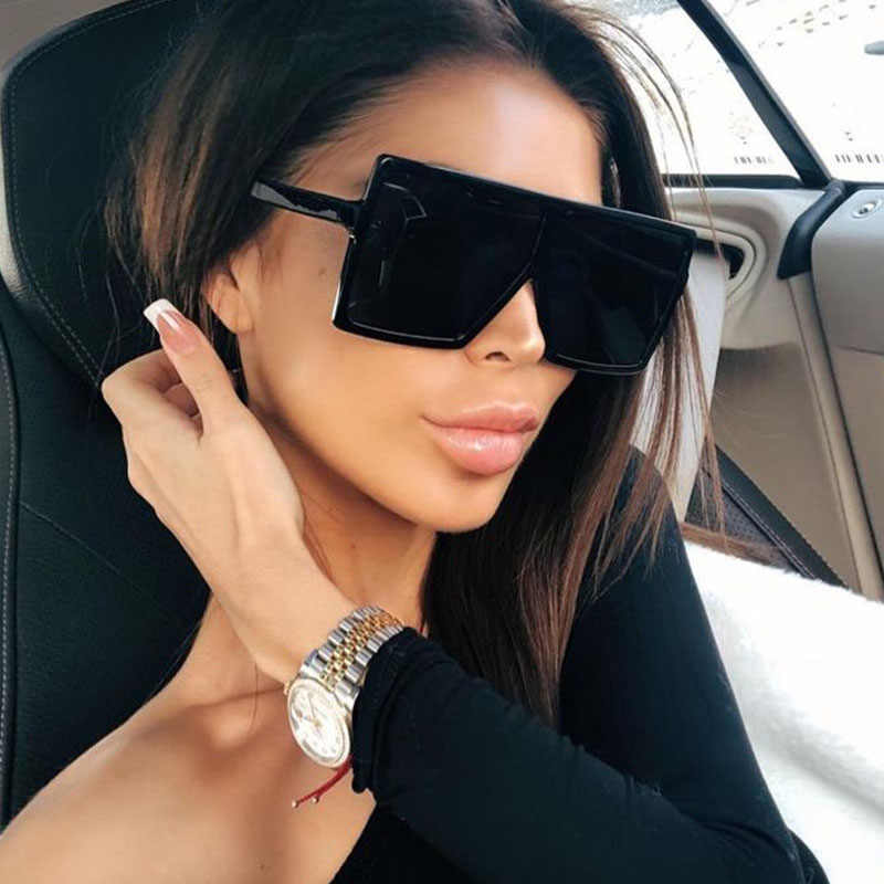 Flat Top Occhiali Da Sole Quadrati Nero Delle Signore di grandi dimensioni Donne Del Progettista di Marca Occhiali Da Sole Retro Grande Struttura di Vetro Unisex Gafas de sol