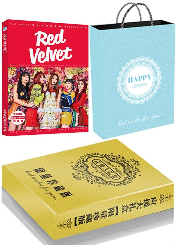 [MYKPOP] ensemble cadeau de luxe en velours rouge CD + carte Photo + affiche + signets + carte cristal, Collection Fans KPOP SA19070601