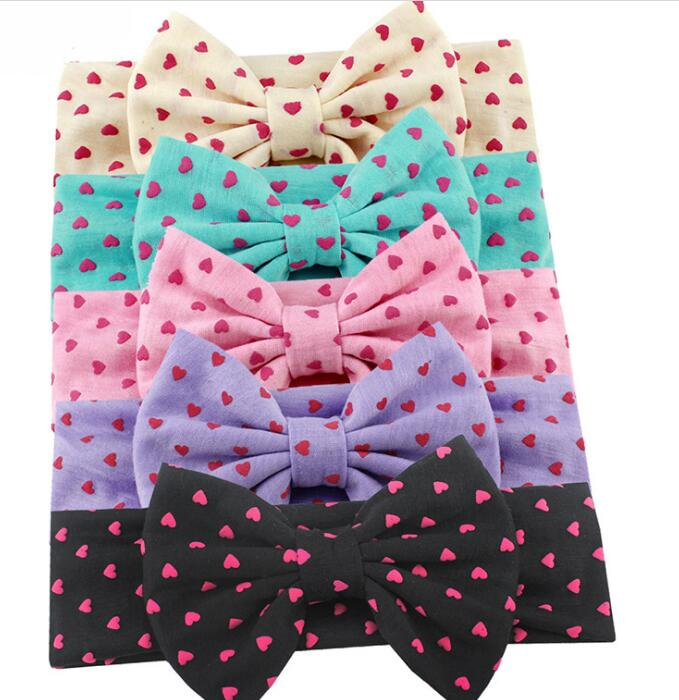 30pcs lot 2019 New Large 5 Dot Polk Cotton Fabric Bows Headband Baby Girls Heart Print