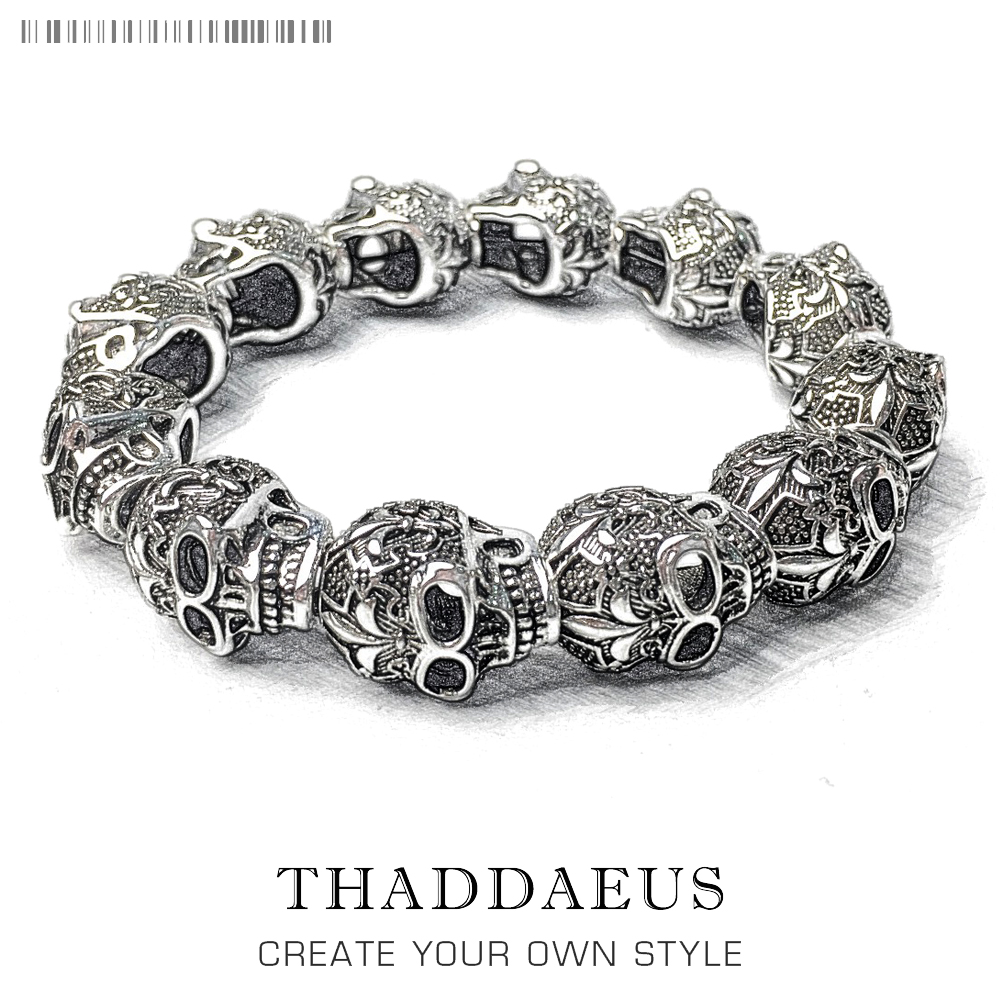 Bracelets Fleur-de-lis Lily & Skull Punk Bead,2017 Brand Silver Fashion Thomas Style Jewelry Tms Bijoux Gift For Ts Men & Women thomas style km bead bracelet with tiger s eye owl skull lily beads karma bracelet rebel heart jewelry for men ts kb536