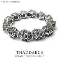 Bracelets Fleur de lis & crâne Punk perle, 2017 marque argent mode Thomas Style Bijoux Tms Bijoux cadeau pour Ts hommes et femmes