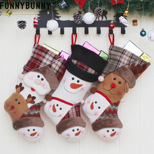 FUNNYBUNNY Christmas Stocking Gift Bag Xmas Tree Hanging Ornament Pendant Snowman Elk Santa Claus