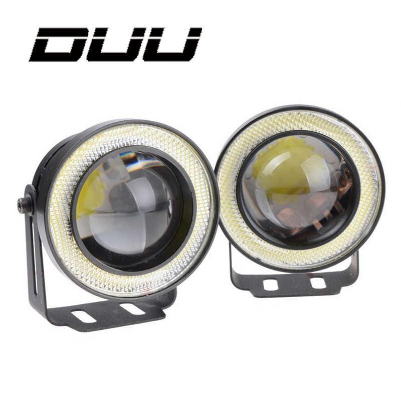 DUU 2pcs Projector Car LED Fog Light Halo Angel Eyes Rings COB 30 W LED White Blue Red 12V SUV ATV Off Road Auto Fog Lamp 3