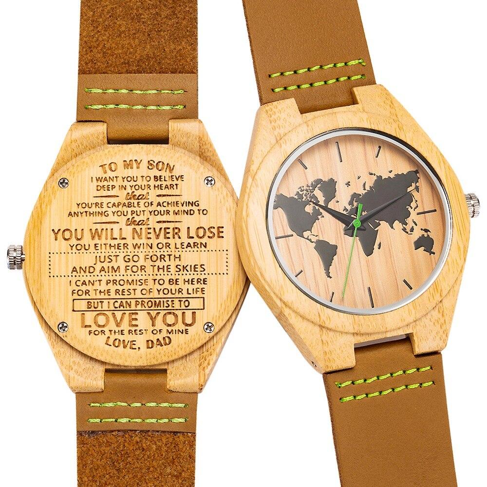 Gravierte Holz Männer Groomsmen Uhr für Mann Sohn Natürliche Bambus Angepasst Holz Uhr Geburtstag Jahrestag Geschenk Tropfen Verschiffen