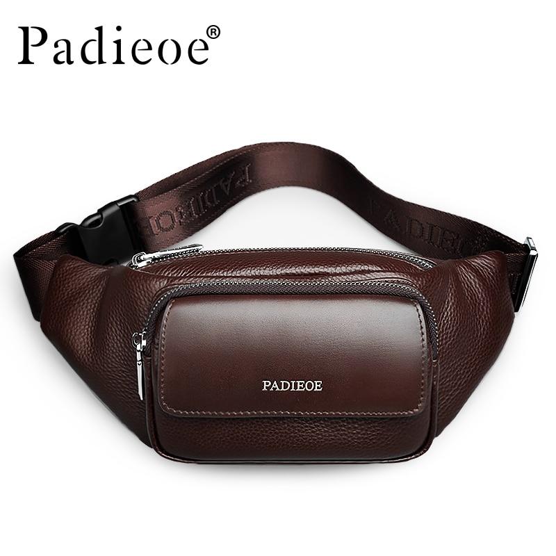 Padieoe valódi bőr férfi derék csomagok kiváló minőségű valódi tehén bőr alkalmi derék táska divat unisex öv táska derék csomag