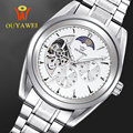 OUYAWEI Brand Luxury Watch Mens Automatic Skeleton Mechanical Wristwatch Fashion Casual Stainless Steel Clock Relogio Masculino