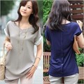Summer Tops 2016 Korea Ladies Chiffon Blouses Back Buttons Stitching Loose Long Cotton Chiffon Shirt Women Blouse Plus Size XXL