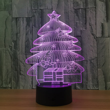 Christmas Tree 3D Lamp Atmosphere Lamp USB led night light Remote Touch Switch 7 Color Change Bedroom Light Christmas decoration