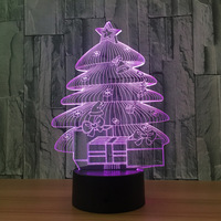 Christmas Tree 3D Lamp Atmosphere Lamp USB Led Night Light Remote Touch Switch 7 Color Change