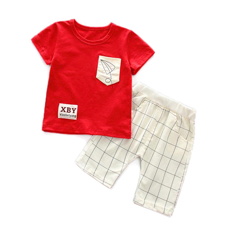 2 pcs Meninos Roupas 2018 Novos de Verão para Crianças Casuais Conjunto de Roupas de Algodão T-shirts + Shorts Roupa Dos Miúdos para 1 2 3 4 5 Anos Menino