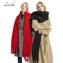Écharpe en laine cachemire rouge pour femme, grande marionnette, épaisse, chaude, couleur unie, à pampilles, 200x50CM, 3428