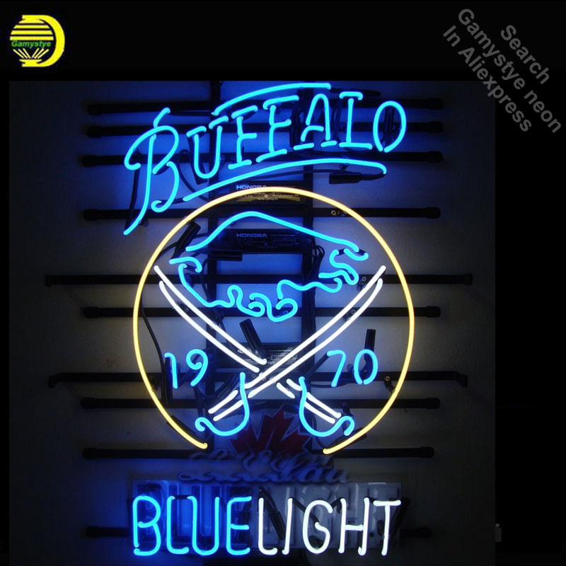 Neon Sign for Sports Club BS Blue Light Buffalo neon bulb Sign Neon lights Sign glass Tube Iconic Advertise Night Light Display