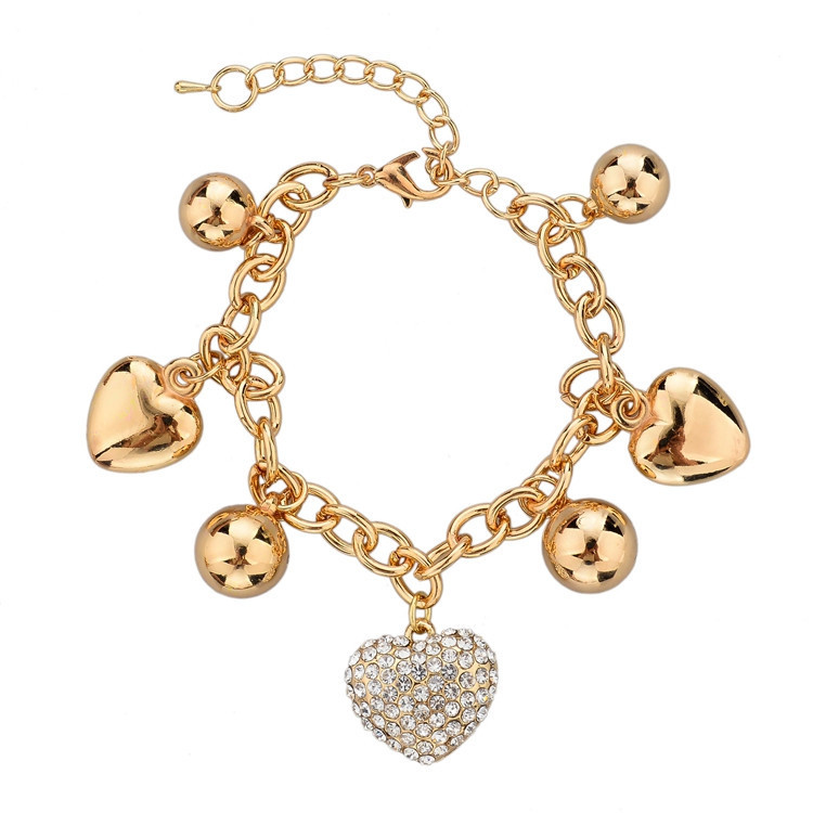 ATTRACTTO LOVE New Arrival Jewelry Heart Charm Bracelets & Bangles Gold Color Bracelets For Women Pulseras Bracelet SBR140221
