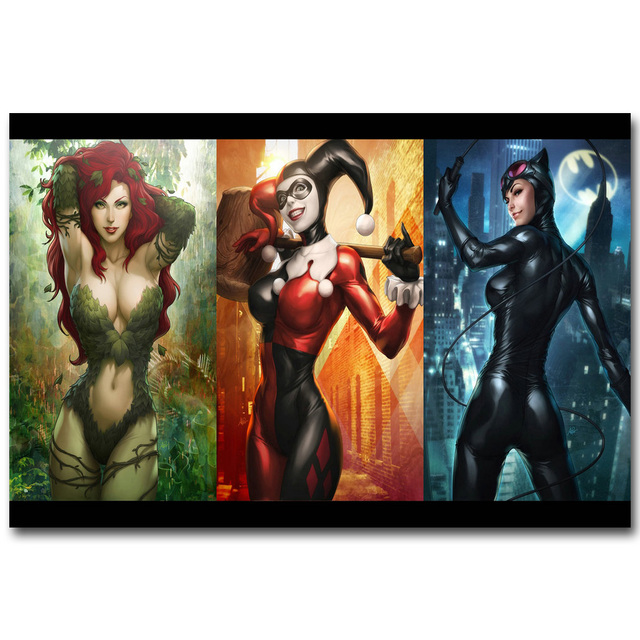Poison Ivy Harley Quinn Cat Woman – Silk Fabric Poster Print