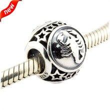 Se adapta a pandora charms pulsera plata 925 original diy para la joyería que hace de escorpio signo zodiacal esterlina de plata-joyería fl422
