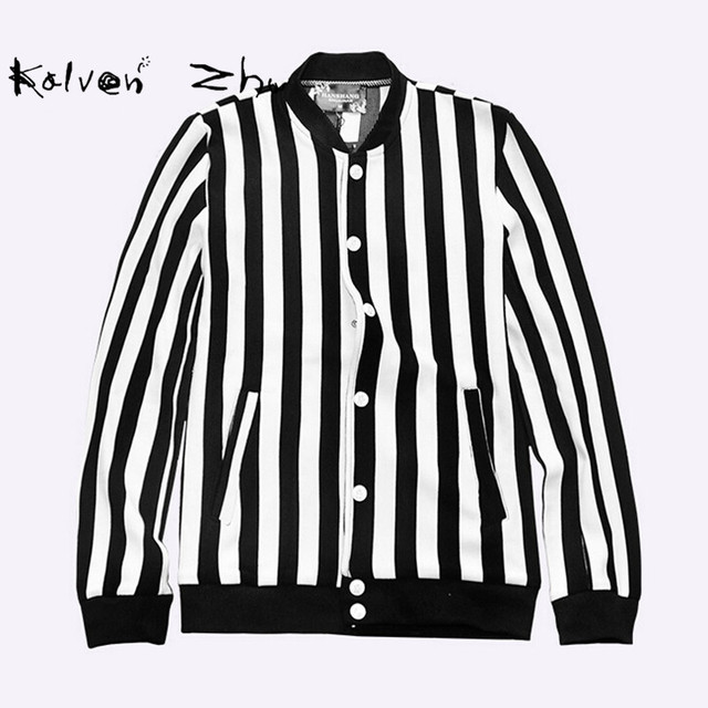 Black and white striped jacket mens