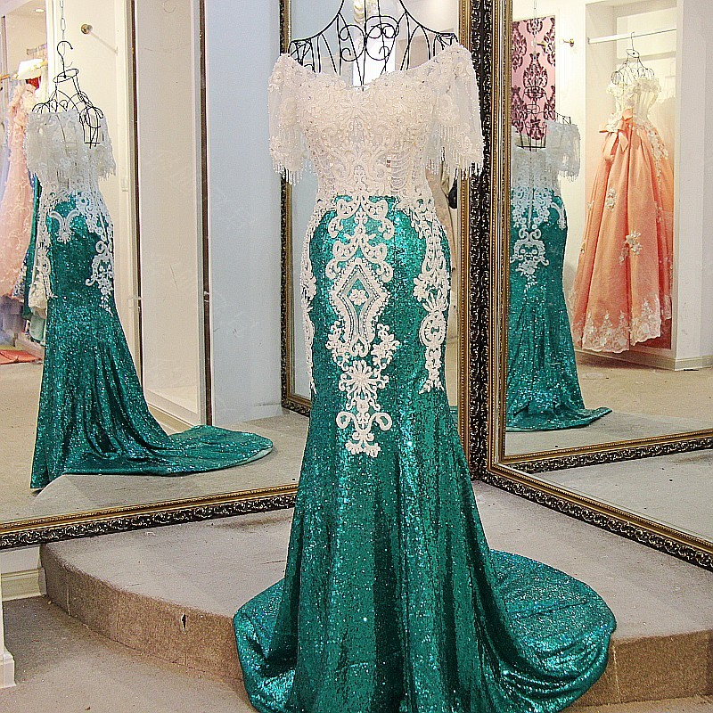 Buy Cheap LS21771 Sequin dress evening long 2017 lace up back short sleeves sweetheart beaded green mermaid long formal party dress