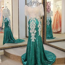LS21771 Sequin dress evening long 2017 lace up back short sleeves sweetheart beaded green mermaid long formal party dress