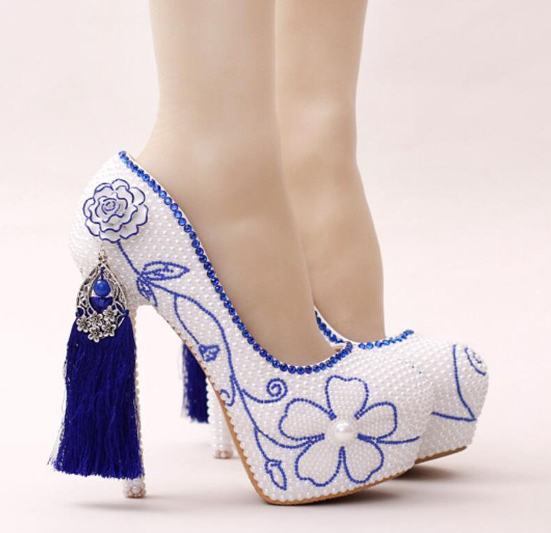 b1495fa9a1ba7b Size34-39 14cm super high heels white pearls pumps shoes HS241 crystal blue  pearls flowers tassel female bridal party shoe