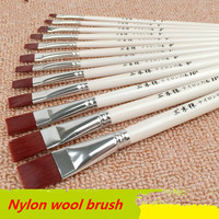 12 pcs/set Nylon hair flat head brushes watercolor paintbrush water powder brush oil painting brush pen acrylic brush pen set