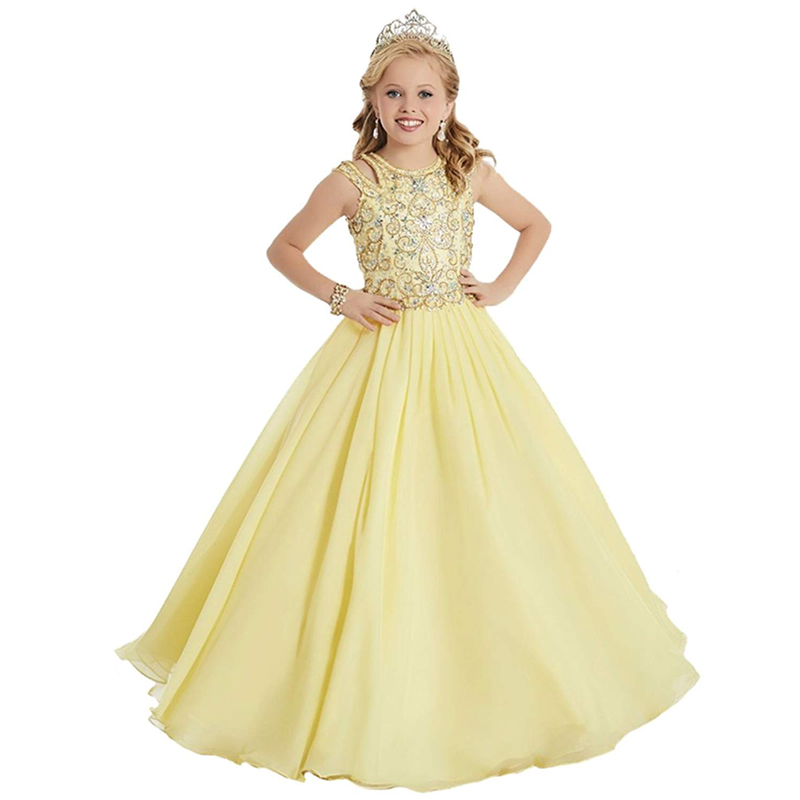 fancy little girls pageant dresses 2-12 kids evening ball gown fantasia infantil para menina yellow little girls prom dresses satin and feathers cerise color ball gown little girls dresses kids with pearls kids girls formal pageant dresses